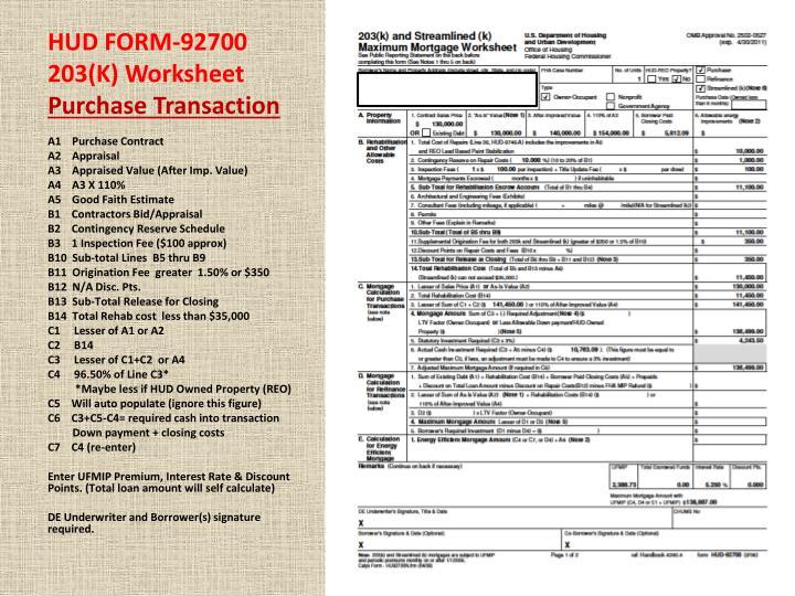 HUD FORM-92700