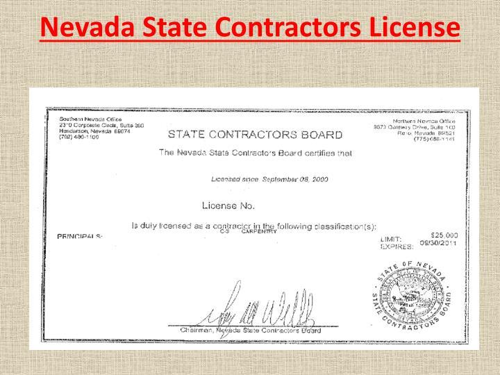 Nevada State Contractors License
