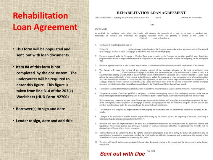 Rehabilitation Loan Agreement