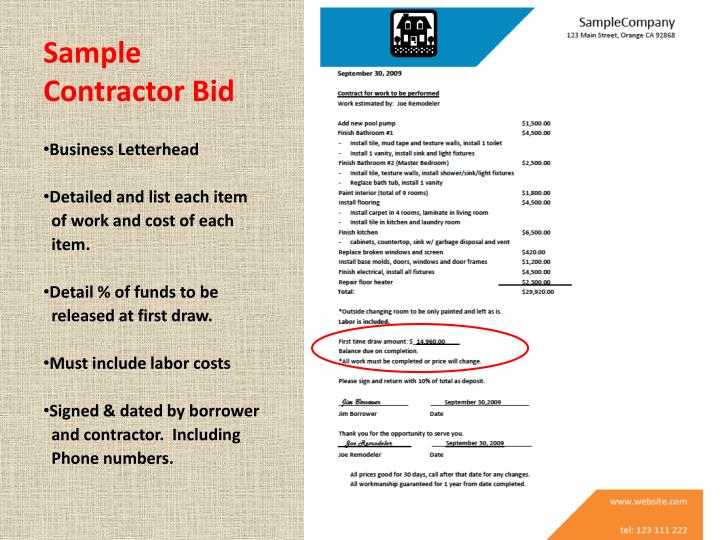 Sample Contractor Bid