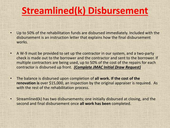 Streamlined(k) Disbursement