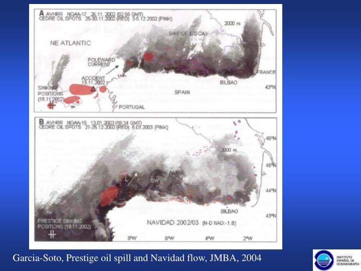Garcia-Soto, Prestige oil spill and Navidad flow, JMBA, 2004