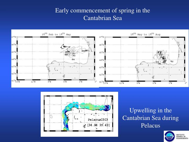 Early commencement of spring in the Cantabrian Sea