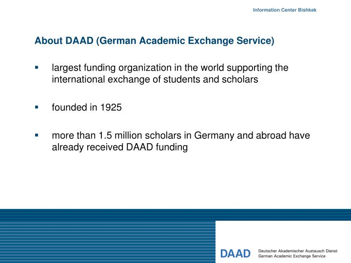 About daad german academic exchange service