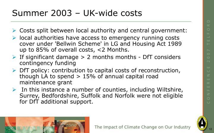 Summer 2003 – UK-wide costs