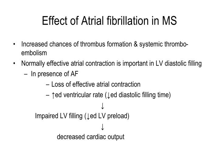 Effect of Atrial fibrillation in MS
