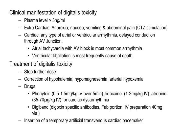 Clinical manifestation of digitalis toxicity