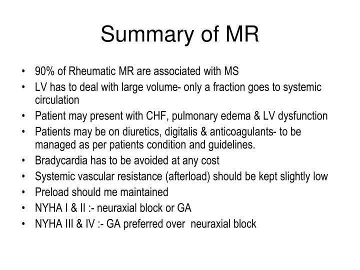 Summary of MR
