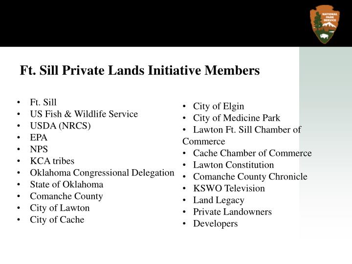 Ft. Sill Private Lands Initiative Members