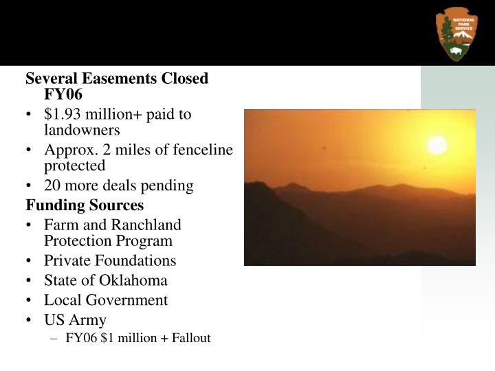 Several Easements Closed FY06