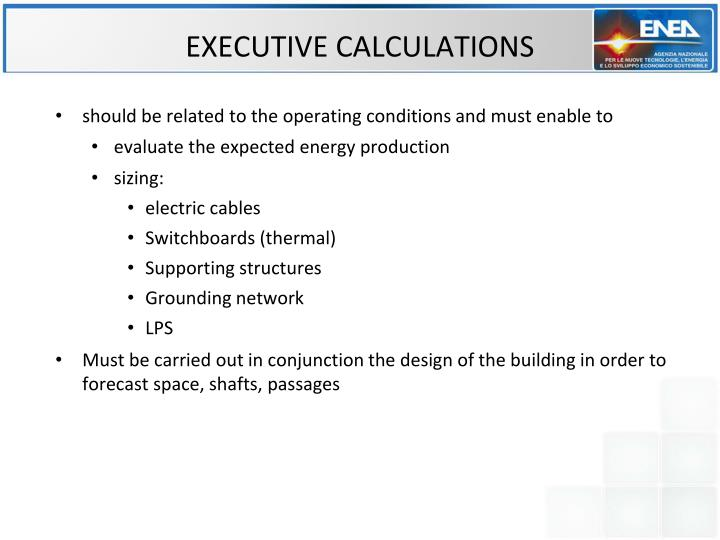 EXECUTIVE CALCULATIONS