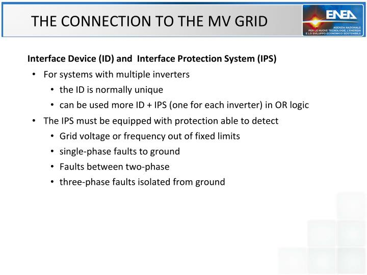 THE CONNECTION TO THE MV GRID