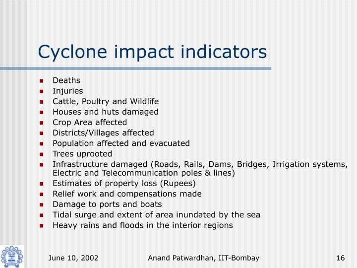 Cyclone impact indicators