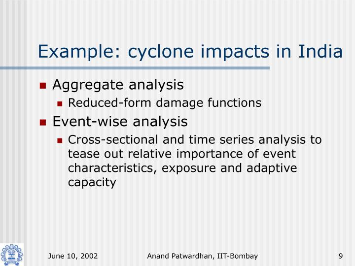 Example: cyclone impacts in India