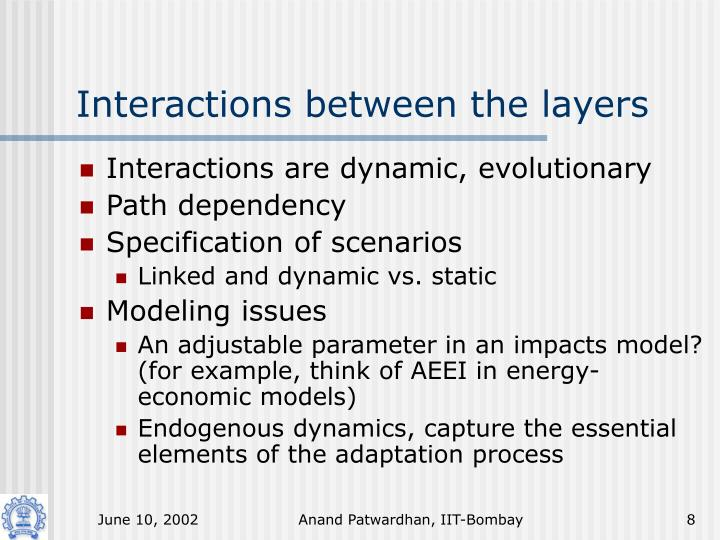 Interactions between the layers