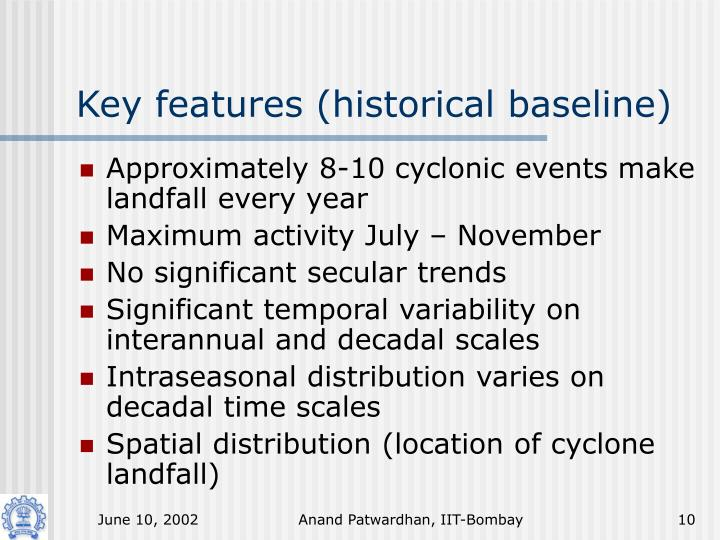 Key features (historical baseline)