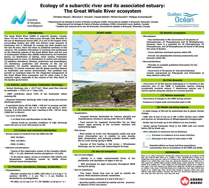 Ecology of a subarctic river and its associated estuary: