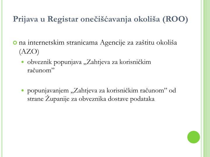 Prijava u Registar onečišćavanja okoliša (ROO)