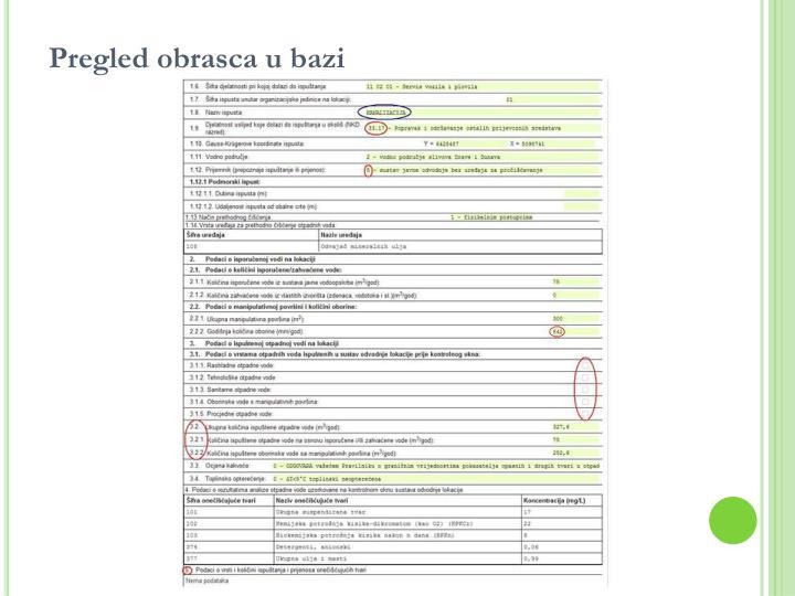 Pregled obrasca u bazi
