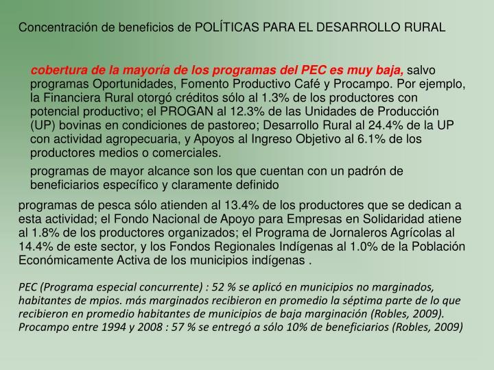 Concentración de beneficios de POLÍTICAS PARA EL DESARROLLO RURAL