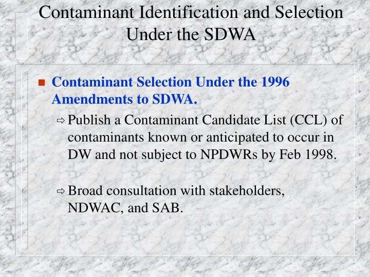 Contaminant identification and selection under the sdwa1