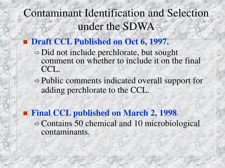 Contaminant Identification and Selection under the SDWA