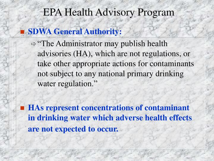 EPA Health Advisory Program