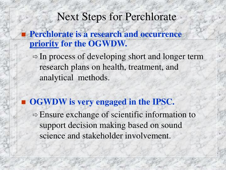 Next Steps for Perchlorate