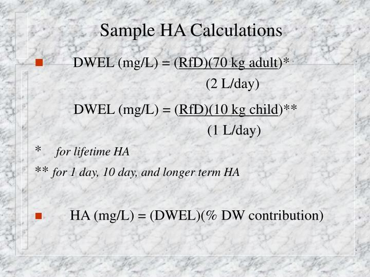 Sample HA Calculations