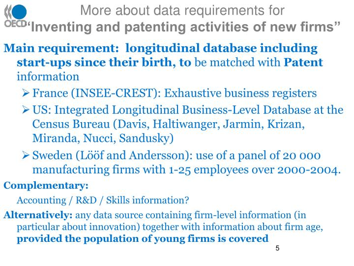 More about data requirements for