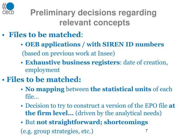 Preliminary decisions regarding
