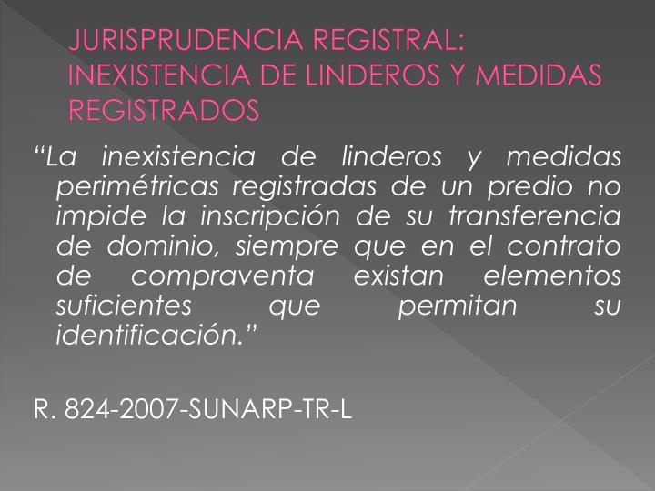 JURISPRUDENCIA REGISTRAL: INEXISTENCIA DE LINDEROS Y MEDIDAS REGISTRADOS