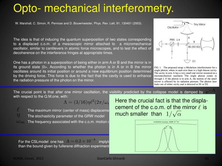 Opto- mechanical interferometry.