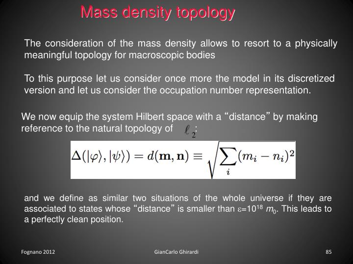 Mass density topology