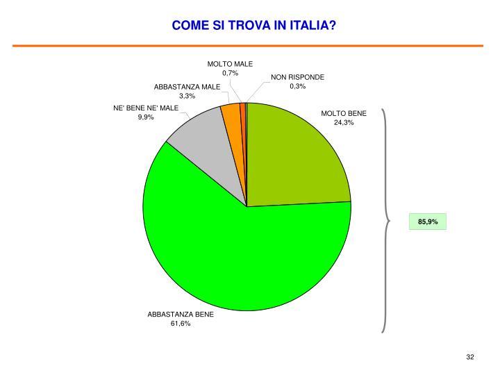 COME SI TROVA IN ITALIA?