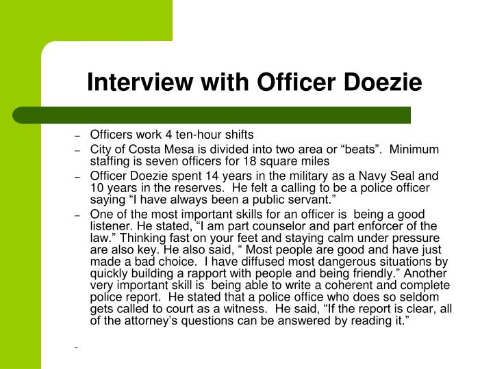 Interview with Officer Doezie
