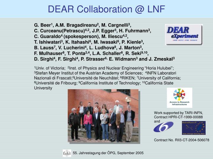 DEAR Collaboration @ LNF
