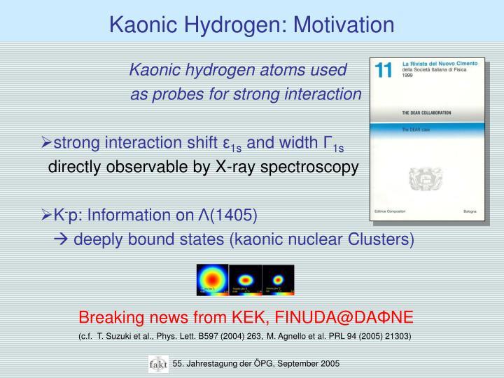 Kaonic Hydrogen: Motivation