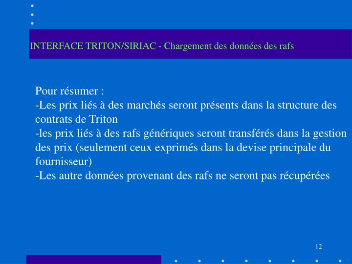 INTERFACE TRITON/SIRIAC - Chargement des données des rafs