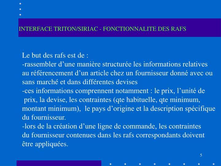 INTERFACE TRITON/SIRIAC - FONCTIONNALITE DES RAFS