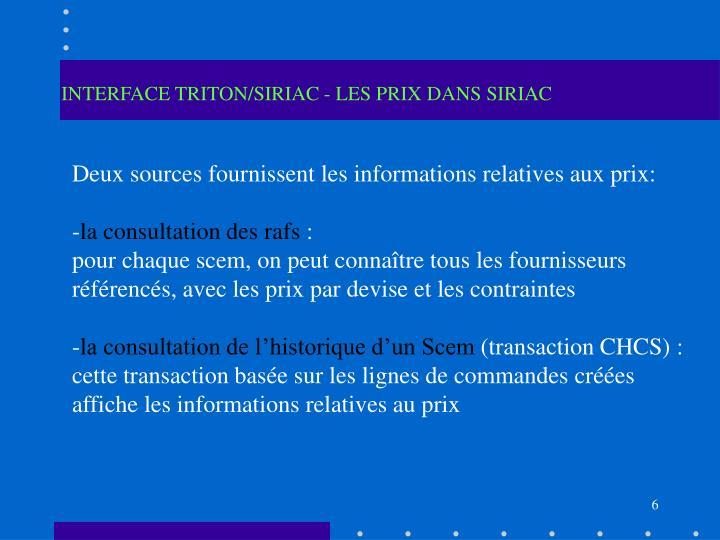 INTERFACE TRITON/SIRIAC - LES PRIX DANS SIRIAC
