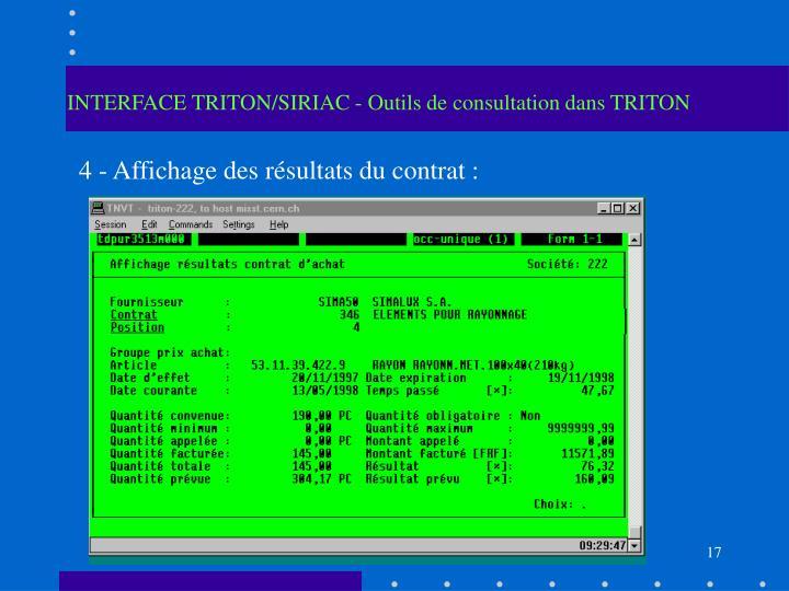 INTERFACE TRITON/SIRIAC - Outils de consultation dans TRITON