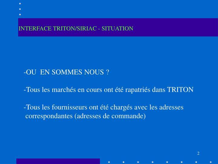 INTERFACE TRITON/SIRIAC - SITUATION