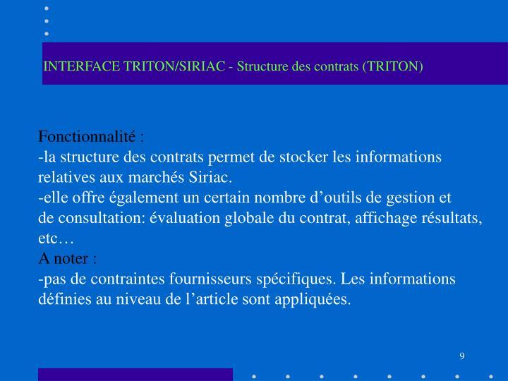 INTERFACE TRITON/SIRIAC - Structure des contrats (TRITON)