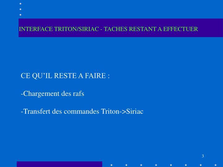 INTERFACE TRITON/SIRIAC - TACHES RESTANT A EFFECTUER