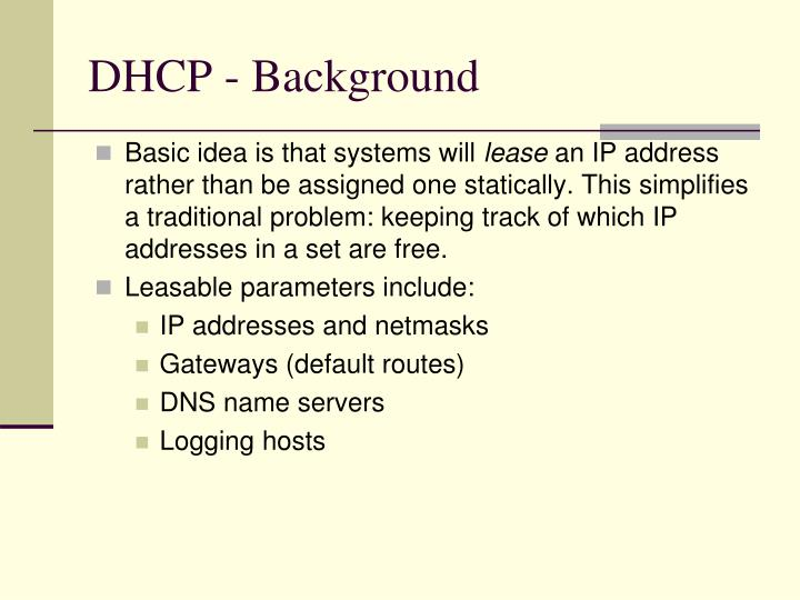 DHCP - Background