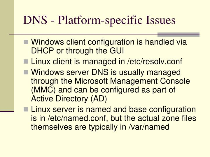 DNS - Platform-specific Issues
