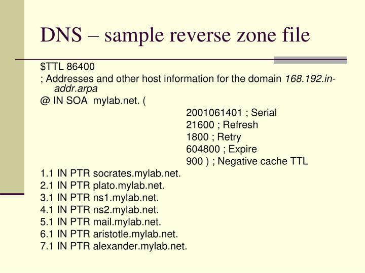 DNS – sample reverse zone file