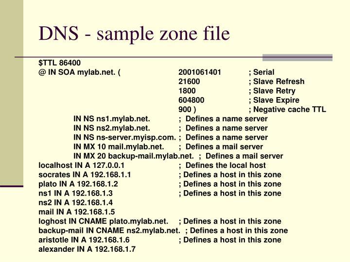 DNS - sample zone file