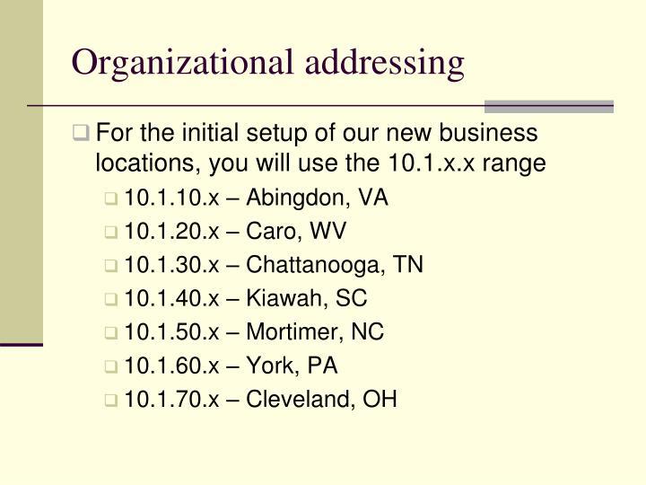 Organizational addressing